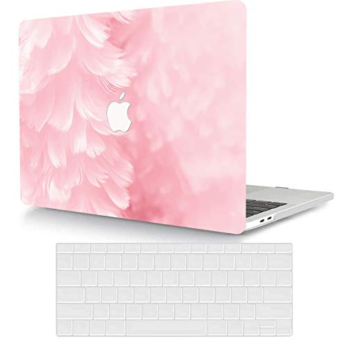 ACJYX Compatible with MacBook Pro 16 inch Case 2020 2019 Release A2141 with Touch Bar & Touch ID, Ultra Slim Coated Protective Plastic Hard Shell Case with Keyboard Cover Skin, Pink Feather