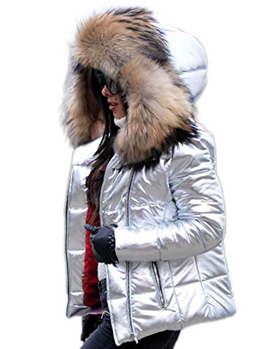 Aofur Womens Ladies Quilted Winter Coat Fur Collar Hooded Down Jacket Parka Outerwear (Medium, Silver)