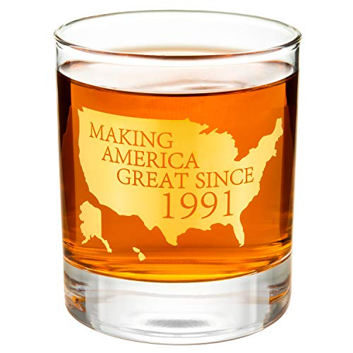 """Crisky 30th Birthday Whiskey Glass for Men Funny 30th Birthday Gift Idea for Him, Husband, Father, Brother Friends Party Favors, Decorations Gold Foil""""Making XX Great Since 1991"""" 11 oz, with Box"""