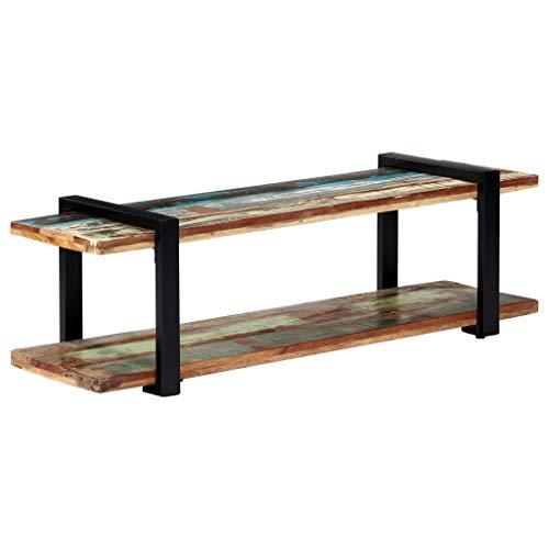 vidaXL TV Schrank mit Ablage Sideboard Lowboard Fernsehschrank Fernsehtisch Board HiFi Regal Tisch Möbel 130x40x40 cm Recyceltes Massivholz