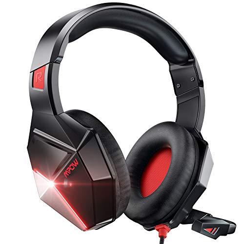 Mpow EG10 Gaming Headset für PS4 PS5 Xbox one PC Switch, 3.5mm Surround Sound Kabelgebundenes mit 50MM-Treiber, Over-Ear Gaming Headset mit Noise Cancelling-Mikrofon, Super Leicht LED Gaming Headset