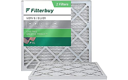FilterBuy 20x20x1 Air Filter MERV 8, Pleated HVAC AC Furnace Filters (2-Pack, Silver)