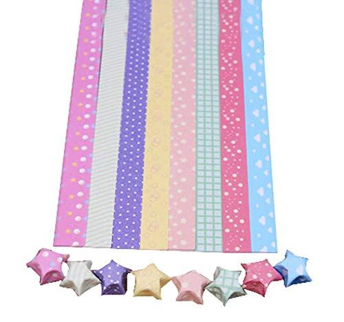 24station [Puntos de Colores] DIY Origami Paper Stars Origami Stars Strip, 8 Colores 300 Hojas Artesanías De Papel