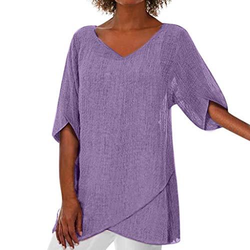 TEFIIR Unregelmäßiger Saum Einfarbig Damen Sommer Mode Schlankes Langes T-Shirt mit Halben Ärmeln Lose Tops Geeignet für Feiern,Verabredungen und Freizeit