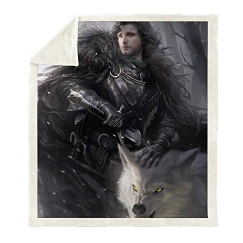 TTZY Game of Thrones Daenerys 3D-Druck Sherpa Decke Sofa Couch Bettbezug Reise Bettwäsche Outlet Samt Plüsch Überwurf Fleece Decke, Bz126,150X130Cm
