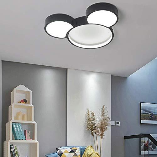 Lámpara de techo Cartoon LED con control remoto Lámpara de dormitorio infantil, Lámpara de plafón colgante moderno Habitación infantil Iluminación redonda regulable Diseño de Mickey Mouse negro 50CM