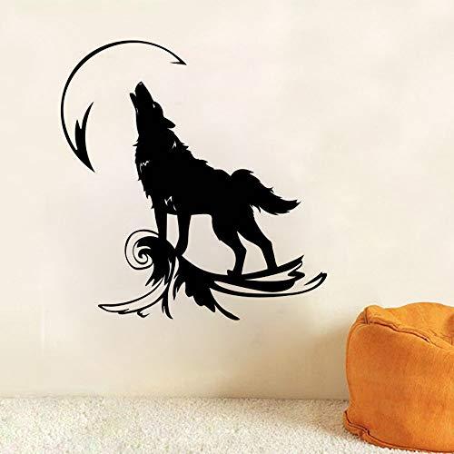Ajcwhml Wandtattoos auf dem Mond ling genannt Wolf Wandaufkleber Hauptdekoration magisches Herz Wandtattoos Wolf Tier Vinyl Kunst 57x60cm