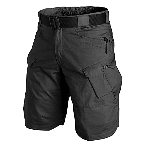DEARWEN 2021 Upgraded Waterproof Tactical Shorts for Men Quick Dry Breathable Hiking&Fishing Cargo Shorts Black