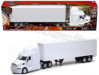 New Ray Toys New 1:32 NEWRAY Truck & Trailer Collection - Peterbilt 387 Trailer SEMI Plain White Diecast Model
