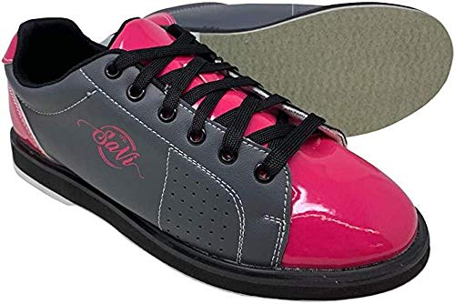 SaVi Bowling Products Women's Classic Grey/Pink Bowling Shoes_Ladies Lace Up w/Universal Soles for Right or Left Handed Bowlers from Beginners to Professionals (10)