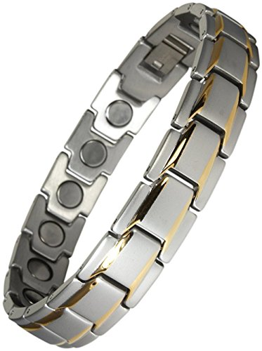 Yinga-Vital Magnetschmuck Herren Armband. Extrastarke 4000 Gauss Magnete. 18 Magnete. Magnetarmband in Stil Bicolor Silber-Gold, Länge 20,5cm