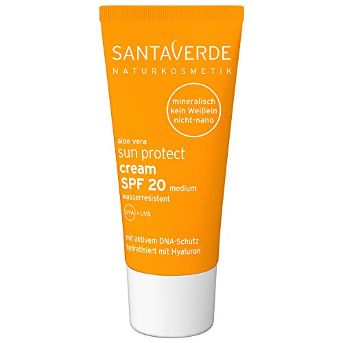 SantaVerde Aloe Vera Sun Protect Creme, Wasserresistent UVA + UVB, SPF 20 Medium