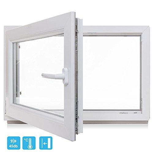 Kellerfenster - Kunststoff - Fenster - weiß - BxH 800x800 / 80x80 DIN Rechts - 3-Fach-Verglasung - Wunschmaße möglich - Lagerware