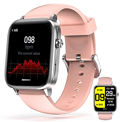 APCHY Reloj Inteligente Smart Watch,Fitness Tracker of Bluetooth Llamada A La Velocidad Cardíaca Presión Arterial Sangre Oxygen ECG Monitoreo Y Temperatura Corporal Bluetooth Music Sports,Rosado