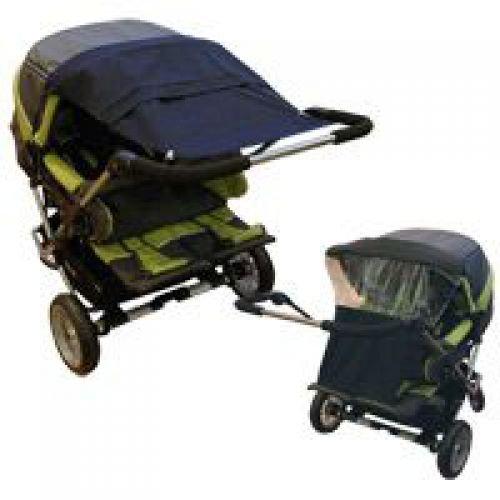 Sonnensegel UV für Zwillingskinderwagen caramel