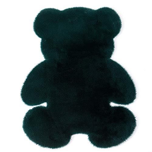 AZUOYI Alfombra Bear Shape Pattern, Alfombra De Piel De Conejo Artificial, Adecuado para salón Dormitorio baño sofá Silla cojín, Varios tamaños Colores,Dark Green,75cm* 105cm