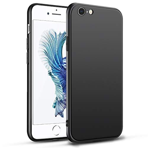 Agedate Hülle Case für iPhone 6 iPhone 6S, Schwarz Silikon Handyhülle, Premium Frosted Shockproof, Stoßdämpfend Anti-Fingerabdruck, Anti-Scratch Soft TPU Case Cover für iPhone iPhone 6/6S -Black