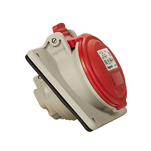 Legrand, CEE 16A Anbausteckdose, rot 4-polig (3P+PE), 6h (400V/16A), Schutzart IP44, IK09 & Neigungswinkel von 15 Grad , 090163