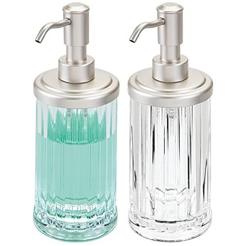 mDesign Juego de 2 dispensadores de jabón para lavabo o fregadero – Dosificadores de jabón...