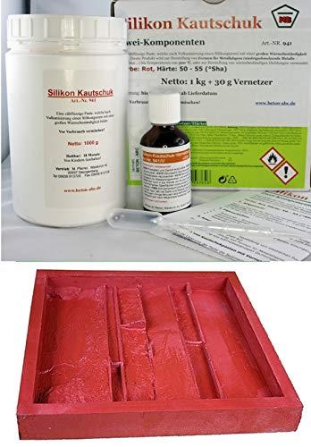 1 KG Abformsilikon (Rot) °Sha 55+Härter/für Metallguss/Zinnguss bis 320°C