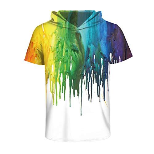 Xmiral T-Shirt Herren Hoodie 3D Tinte Gedruckte Kurzarmhemd mit Kapuze Tops Shirt Basic Männer Kapuzenshirt Pulli Tank Top Poloshirt Polohemd Shirt(Mehrfarbig,XXL/3XL)