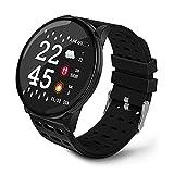 Smartwatch Reloj Inteligente con Monitor Cardiaco, Presión Arterial y Podómetro, Resistente al Agua, Reloj para Hombre y Mujer, Notificaciones de Mensajes y Redes Sociales, 3 Correas