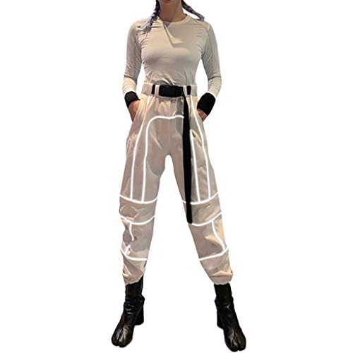Reflective Pants for Women, Belt Bloom Pants Color Match Elastic Waist Safety Pants Nightclub Dance Pants Gore-Trousers Khaki