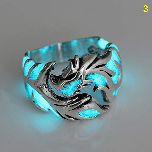Lanbowo Luminous Dragons Ring für Herren Nachtleuchtendes Nachtlicht, das im Dunkeln leuchtet(3)