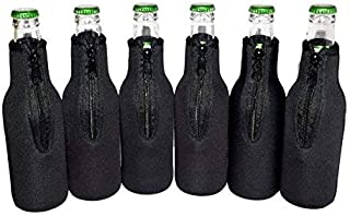 QualityPerfection 6 Black Beer Bottle Cooler Sleeves - Extra Thick Neoprene,Stitched Fabric Edges Great 4 Parties,Holiday,Events (Black, 6)