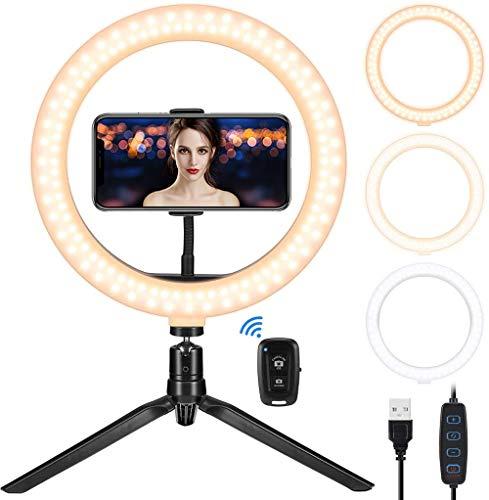 """Teaisiy Luz de Anillo LED, Aro de Luz 10.2"""" Fotográfica de Escritorio 3 Modos 10 Brillos Regulables Anillo de Luz con Trípode para Maquillaje, Youtube, Selfie, TIK Tok"""