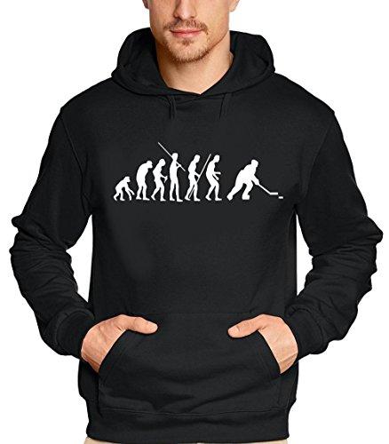 Coole-Fun-T-Shirts Eishockey Evolution Icehockey - Sweatshirt mit Kapuze - Hoodie schwarz Gr.S