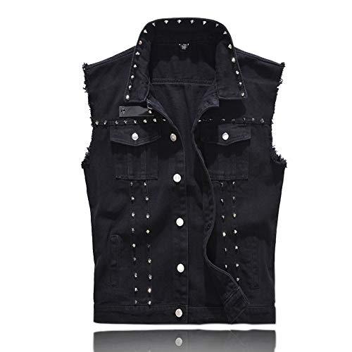 Rock Punk Denim Vest Jacket - Men's Motorcycle Jeans Waistcoat with Metal Rivets Battle Vest ( Black, L , Tag Size 4XL )