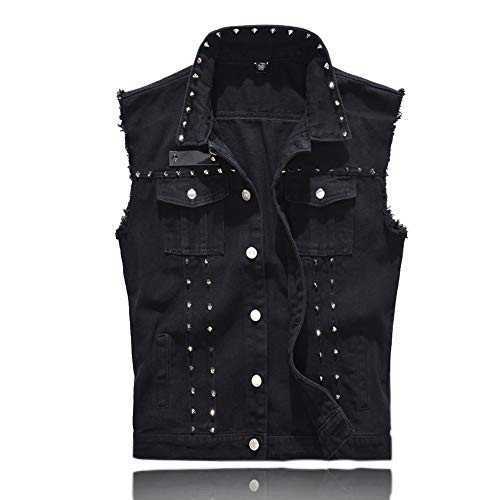 Rock Punk Denim Vest Jacket - Men's Motorcycle Jeans Waistcoat with Metal Rivets Battle Vest ( Black, L , Tag Size 4XL )