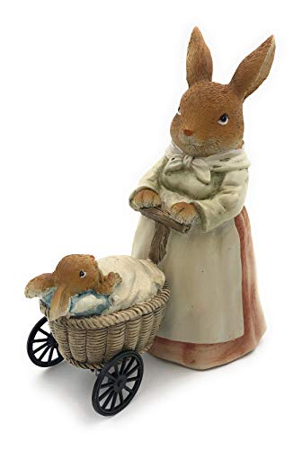 Osterhasen Frau mit Kinderwagen und Hasen Baby - Oster Deko für Haus und Garten ca. 17cm