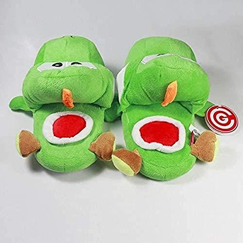 EREL Plüschpantoffeln Super Mario Bros. Green Yoshi King Kong Erwachsene Damen und Herren Herbst und Winterhauspantoffeln Plüschpantoffeln A dedu
