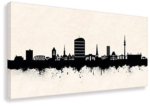 Kunst Druck auf Leinwand - Skyline Dortmund SW (div. Größen) Bild fertig auf Keilrahmen ! Graffiti Like Banksy Art Gemälde Kunstdrucke, Wandbilder (50x100cm)