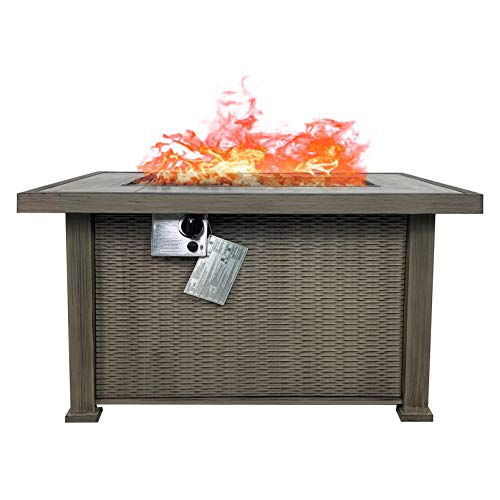 Summerville Propane Fire Fit Table, 42 inch Gas Fire Table Outdoor Smokeless Square 50,000 BTU Auto-Ignition Firepits with Lava Stone for Patio,Garden,Backyard
