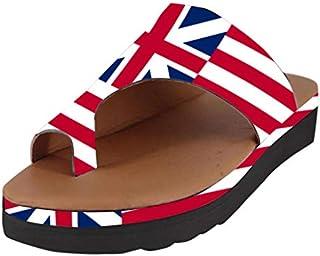 Sunyastor Women's Flats Wedges Platform Sandals Comfy Open Toe Beach Travel Shoes USA Printed Soft Bottom Non-Slip Slippers