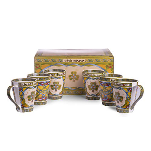 Irish Claddagh Cup Set of Six 14oz Tea Cups Come in a Matching Box, Decorated with Celtic Patterns, Symbols and Colors