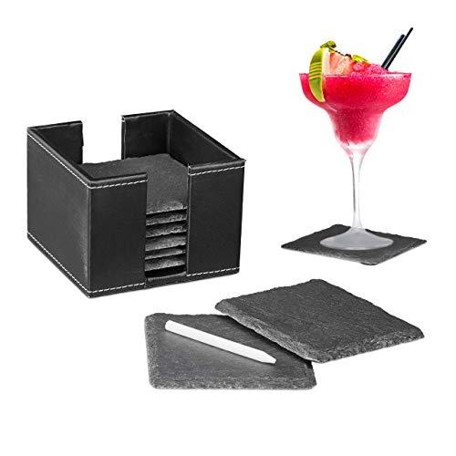 Relaxdays leisteen onderzetter in set van 8, glasonderzetters met doos, krijt om te beschrijven, vierkant 10x10cm, zwart