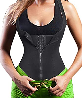 Eleady Women's Underbust Corset Waist Trainer Cincher Steel Boned Body Shaper Vest with Adjustable Straps (L, Black)