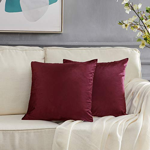 GIGIZAZA Samt Kissenbezug 40x40 cm Kissenbezüge Sofakissen Kissenhülle Dekokissen für Wohnzimmer Schlafzimmer Auto 2er Pack Wein Rot