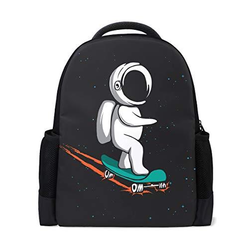 Rucksack Bookbag Daypack Space Astronaut Skateboard wasserdicht für mittlere Reise Mädchen Jungen