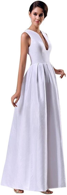 Scarlett Women's Vneck Satin Formal Wedding Bridal Ball Gown White
