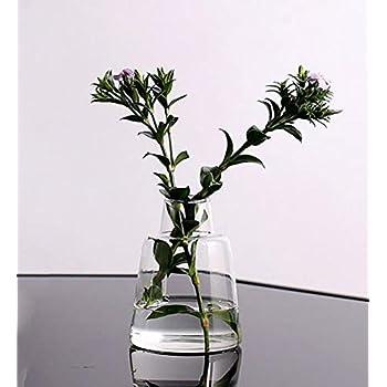 花瓶 一輪挿しガラスフラワーベース ミニ花器 11.8CM 高級感工芸品質ガラスベスー インテリア雑貨 インテリア飾り クリアC