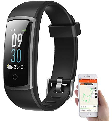 Newgen Medicals Smartwatches: Fitness-Armband mit Puls- & Blutdruck-Anzeige, App, Farb-Display, IP68 (Fitnessarmband Blutdruck)