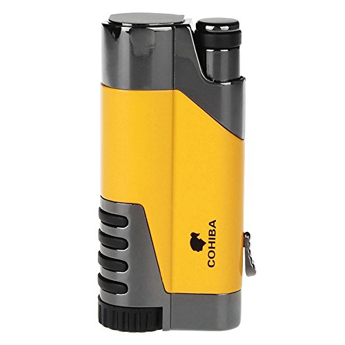 Cohiba Windproof Lighter Gas Lighter Cigarette Lighter Torch Jet Flame Refillable Inflatable Flame Lighter Cigar Lighter D0107 (Yellow)