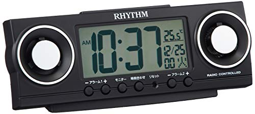 リズム(RHYTHM) 目覚まし時計 大音量 電波 デジタル フィットバトラージューク 20種音 & ダブル アラーム 黒 RHYTHM 8RZ177SR02 [並行輸入品]