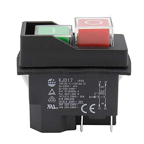 IP55 Wasserdichter Druckknopf Elektromagnetischer Schalter 4-poliger AC250V 16A MagnetIc Starter Elektrowerkzeug Sicherheitsschalter für Werkzeugmaschinen
