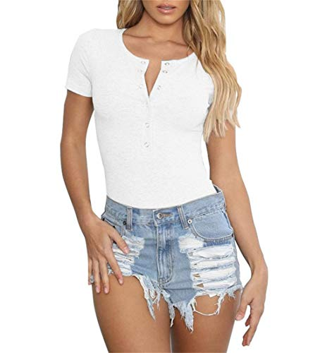 GEMBERA Women Short Sleeves Henley Neck Button Down Bodysuit Ribbed Knit Thong Basic Leotard Top XL,White